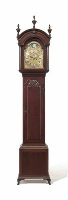 THE HUNTER-DUNN FAMILY CHIPPENDALE PLUM PUDDING MAHOGANY BLOCK-AND-SHELL TALL-CASE CLOCK DIAL SIGNED BY JAMES WADY (D.1759), NEWPORT, 1750-1759.  Estimate: $200,000 - 300,000