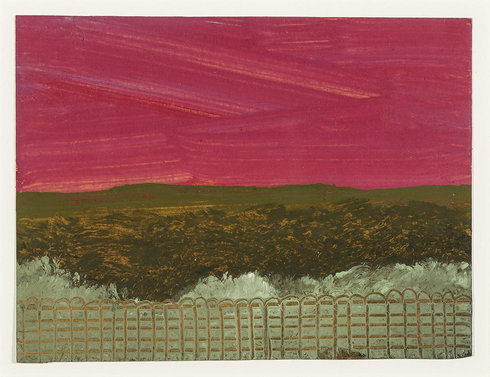 "WALTER, FRANK, 1926-2009.  Landscape with Fence and Red Sky, Oil on heavy paper, 4 3/4"" x 6 3/8"""