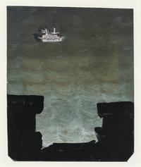 "WALTER, FRANK, 1926-2009.  Boat in the Sea, Oil on paper, 5 3/8"" x 4 3/8"""