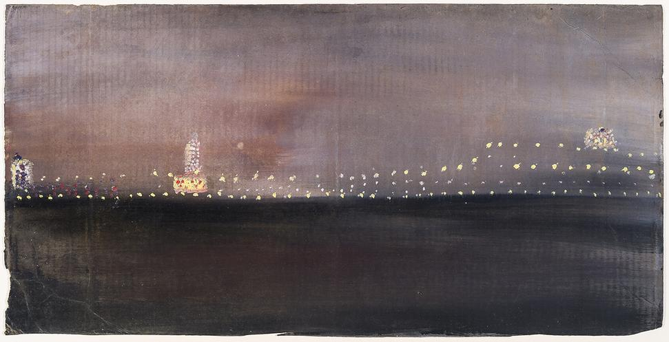 "WALTER, FRANK, 1926-2009.  Harbor, Nocturne, Oil on corrugated cardboard, 13 1/8"" x 26 3/8"""