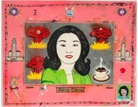 Jeffrey Vallance, Connie Chung #3, 1981, 20.5 x 24.5 inches (framed), enamel on board with decals.  Collection of the Nora Eccles Harrison Museum of Art, Utah State University, Gift of Larry and Mimi Kennedy Dilg.