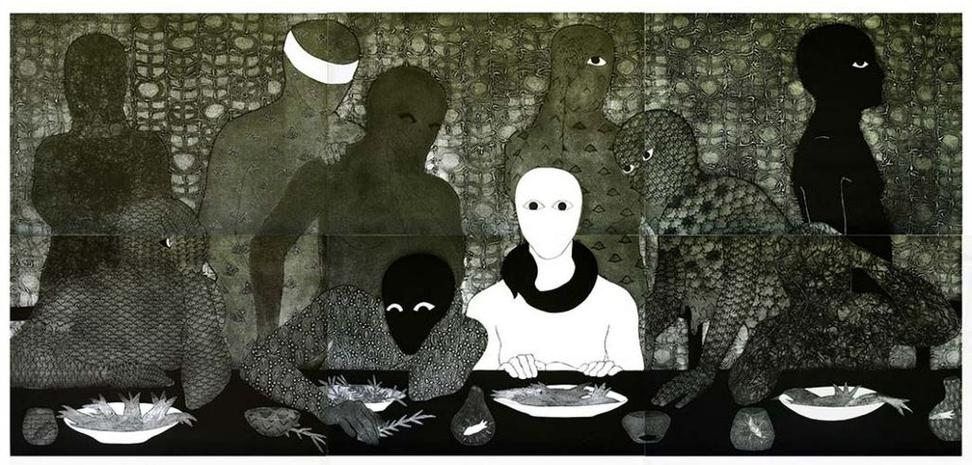 Belkis Ayón, La cena (The Supper), 1988, collagraph in 6 parts, 54 1/4 x 117 1/4 inches © and courtesy Estate of Belkis Ayón