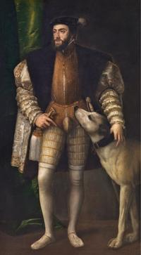 Titian, Charles V with a Dog, 1533.  Oil on canvas.  194 x 112.7 cm.  Museo Nacional del Prado, Madrid, inv.  P00409.  Photo © Museo Nacional del Prado.