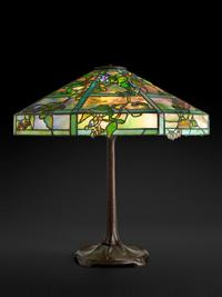 Tiffany Studios, October Night Table Lamp, about 1910, leaded glass, patinated bronze.  Photograph by John Faier.  © Driehaus Museum 2018