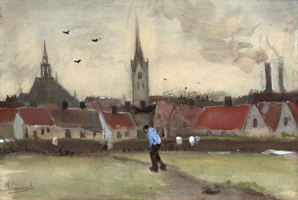 """Town View of the Hague with the Nieuwe Kerk"" by Vincent van Gogh (1882)."