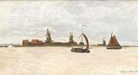 """Die Voorazaan"" by Claude Monet depicts a harbor scene painted in 1871 during the artist's travels to Holland."