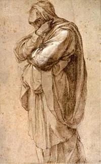 Right: Study of a Mourning Woman, ca.  1500-05, Michelangelo Buonarroti (Italian, 1475-1564).  Pen and brown ink, heightened with white.  26 x 16.5 cm.  The J.  Paul Getty Museum, Los Angeles