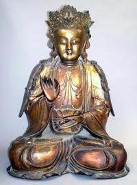 The top lot of the sale was this Chinese gilt-bronze Buddha, 20 ½ inches tall ($143,000).