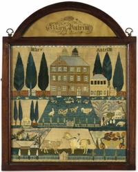Rare and Important Needlework Sampler, Mary Antrim, Burlington Country, New Jersey, Dated 1807.  Est.  $80/120,000.
