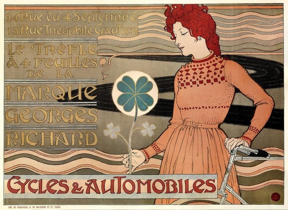 "Eugène Grasset (French, 1841–1917) Printer: de Vaugirard; G.  de Malherbe & Cie, publisher ""Cycles & Automobiles, Marque Georges Richard / Cycles & Automobiles"", 1899 Color lithograph 16 1/2 × 23 in.  Acc.  no.  150645 Photograph by John Faier, © Driehaus Museum, 2015"