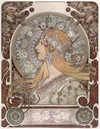 "Alphonse Mucha (Czech, 1860–1939) Printer: F.  Champenois, Paris ""Zodiac"", 1896 Color lithograph on silk 25 3/4 × 20 in.  Acc.  no.  151093 Photograph by John Faier, © Driehaus Museum, 2015"