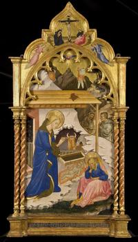 Scolaio di Giovanni (Florence, 1369- doc.1434) Nativity.  Panel, 122.9 x 67.2 cm, 482/5 x 26½ ins