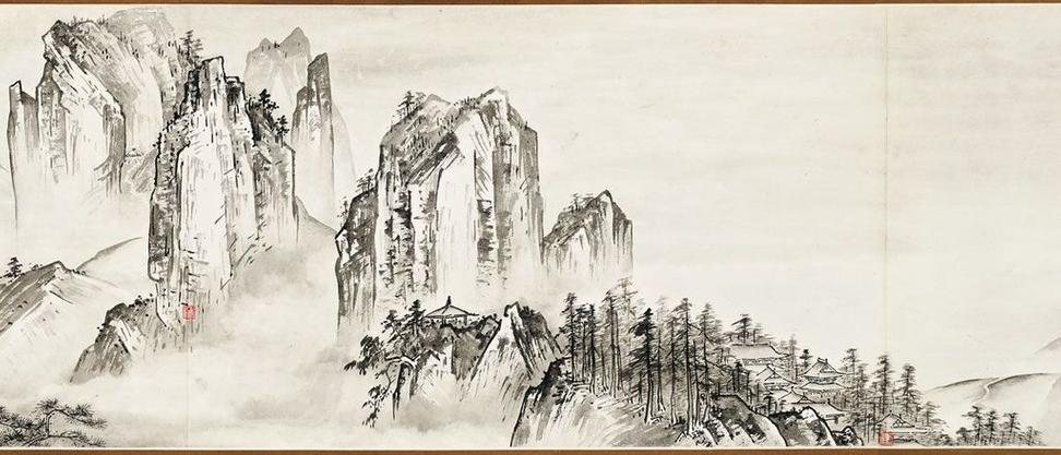Travelers among mountains and streams, in the style of Dong Beiyuan, 1961, by Fu Shen (Chinese, b.  1937).  Hand scroll; ink on paper.  Lent from a private collection .  © Fu Shen.  Photograph courtesy of Eros Zhao.