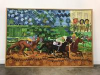 Large signed mixed media painting with a horse race theme by African American Master Wadsworth Jarrell (b.  1929), 50 inches by 73.75 inches (est.  $30,000-$40,000).