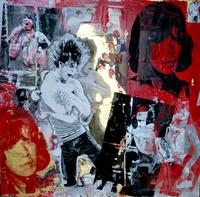 Steve Joester, Mick Jagger, 36 x 36, silk screen and mixed media, 2013