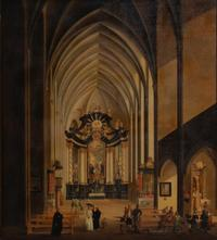 Oil on copper scene of a Gothic cathedral with Baroque baldacchino and figures by Johann Ludwig Ernst Morganstern (German, 1738-1819) (est.  $10,000-15,000).