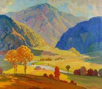 Fauvist oil on canvas board autumn landscape painting by John Adams Spelman (Minn./Ill, 1880-1941), depicting a rolling valley with farmhouses and trees along a river ($2,812).