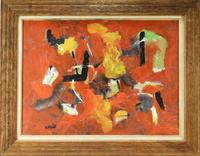 Oil on canvas abstract painting by John Von Wicht (German-American, 1888-1970), titled Small Red Painting (1961), 22 ¾ inches by 28 ¾ inches, framed (est.  $2,000-$3,000).