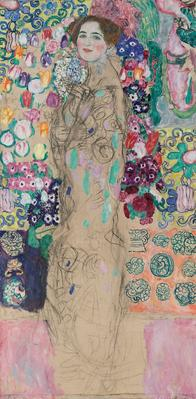 "Gustav Klimt, ""Portrait of Ria Munk III (Bildnis Ria Munk III),"" 1917 (unfinished).  Oil on canvas, 180 x 90 cm.  The Lewis Collection"