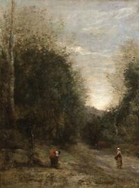 Jean Baptiste Camille Corot painted L'Entrée de Chemin Creux between the years of 1870-1875.