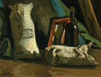 Vincent van Gogh's Still Life with Two Sacks and a Bottle (1884).