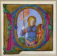 Circa1495 painting, ST GEORGE AND THE DRAGON, initial P by Associate of Master of the Arcimboldi Missal.  From LES ENLUMINURES .