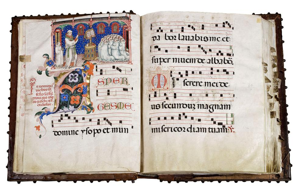 LES ENLUMINARES will present an exceptional 'Gradual' - an illuminated manuscript in Latin on parchment with five miniatures depicting the Monks with portrait-like precision singing from a Choir book in an Olivetan foundation.