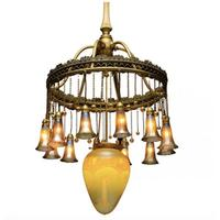 Tiffany Studios 12-Lite Lily Chandelier, Sold for $40,300 on Bidsquare