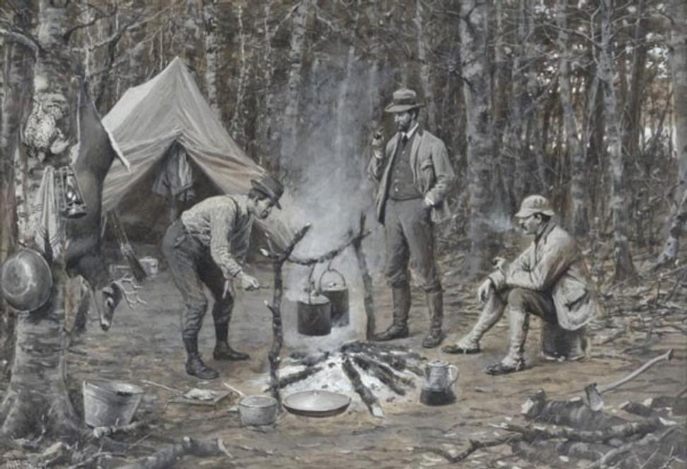 Arthur Burdett Frost, Supper in Camp, 1901 in Copley Fine Art Auctions' two day Sporting Sale, July 27-28, 2017 with an estimate of $70,000-90,000