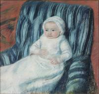 Madame Bérard's Baby in a Striped Armchair, 1880–81, by Mary Cassatt (American, 1844–1926).  Pastel on paper, 25 x 26 1/2 inches (63.5 x 67.3 cm).  Philadelphia Museum of Art: Gift of John C.  Haas and Chara C.  Haas, 2011-58-4