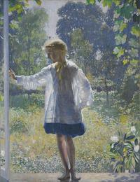 Tanis, 1915, by Daniel Garber (American, 1880–1958).  Oil on canvas, 60 x 46 1/4 inches (152.4 x 117.5 cm).  Philadelphia Museum of Art: Purchased with funds contributed by Marguerite and Gerry Lenfest, 2011-60-1