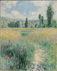 Path on the Island of Saint Martin, Vétheuil, 1881, by Claude Monet (French, 1840–1926).  Oil on canvas, 29 x 23 1/2 inches (73.7 x 59.7 cm).  Philadelphia Museum of Art.  Gift of John C.  Haas and Chara C.  Haas, 2011-58-2