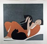 """Woman and Cats"" a lithography, 1969, (edition of 100).  By Will Barnet -- an American artist known for his paintings, watercolors, drawings, and prints depicting the human figure and animals, both in casual scenes of daily life and in transcendent dreamlike worlds."
