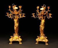 Gustave LEVY: Pair of candelabras with caryatids.  Model from the 1862 World Exhibition.  Gilded bronze and onyx.