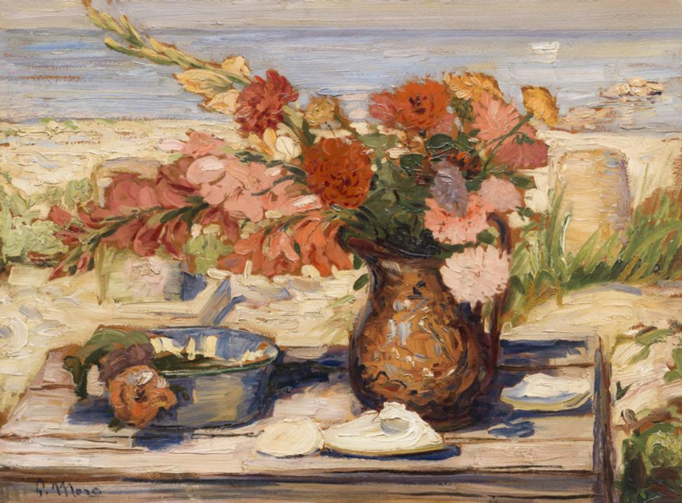 Paul Moro, FLORAL BOUNTY BY THE BAY, DENNIS, MA, 1936.  Oil on board, 24 x 36 inches.  Private collection