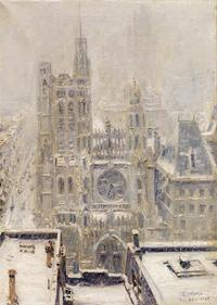 Paul Moro, CHURCH OF SAINT THOMAS ON FIFTH AVENUE, NY, 1933.  Oil on canvas, 28 x 20 inches.  Private collection
