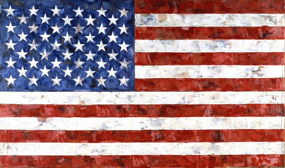 Jasper Johns, Flag, 1967, encaustic and collage on canvas (three panels), 33 1/2 x 56 1/4 in., Art © Jasper Johns/Licensed by VAGA, New York, NY.  The Eli and Edythe L.  Broad Collection