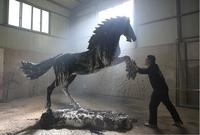 "Ren Ma, or ""Benevolent Horse,"" a large scale sculpture by Simon Ma."
