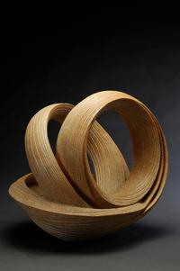 "Sakiyama Takayuki, Open Twisting Sculpture with Ridged Banding, 2011.  14 x 16.5 x 19"" stoneware with sand and orange glaze.  Joan B Mirviss LTD, New York NY"