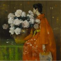 William Merritt Chase, Spring Flowers (Peonies), by 1889.  Pastel on paper, prepared with a tan ground, and wrapped with canvas around a wooden strainer.  Image: 48 x 48in.  (121.9 x 121.9cm) Frame: 57 1/2 × 57 1/2 × 4 1/2in.  (146.1 × 146.1 × 11.4cm).