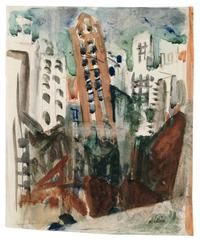 John Marin, New York City View, c.  1925.  Watercolor and charcoal, 8 1/2 x 7 1/8 in.  Colby College Museum of Art.  Gift of John Marin Jr.  and Norma B.  Marin, 1973.048