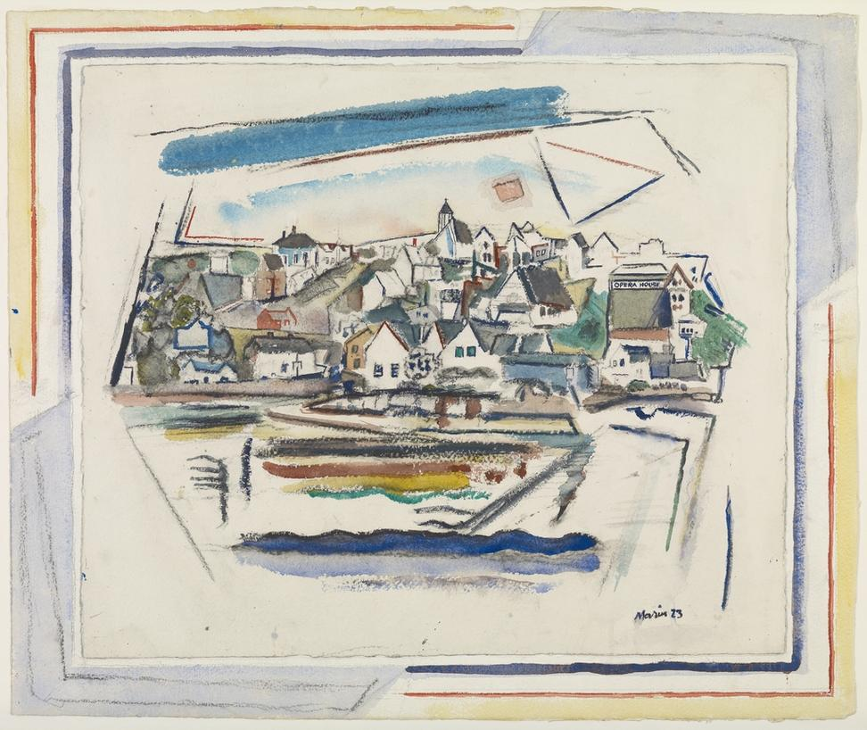 John Marin, Stonington, Maine, 1923.  Watercolor and charcoal, 21 3/4 x 26 1/4 in.  Colby College Museum of Art.  Gift of John Marin Jr.  and Norma B.  Marin, 1973.047