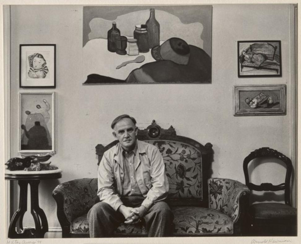 Milton Avery, 1944.  Gelatin silver print, image and sheet: 7 11/16 × 9 11/16 inches, mount: 16 15/16 × 14 inches.  Philadelphia Museum of Art: Gift of R.  Sturgis and Marion B.  F.  Ingersoll, 1945.