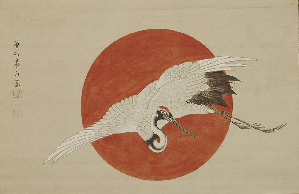 Soga Shohaku 1730 1781 Crane And Rising Sun Edo Period