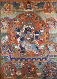 Vajrakila, Tibet Mineral pigments and gold on cloth, late 17th/18th century