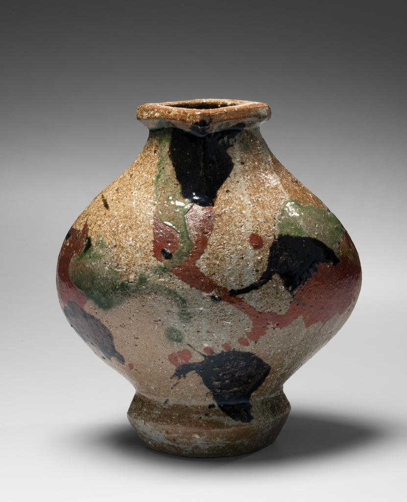 With record breaking blockbuster sales asia week new york rings a very rare major work by kawai kanjiro a flattened vessel henko with flaring mouth and sanai red green and black iron oxide glazes on unglazed reviewsmspy