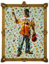 Kehinde Wiley, Philip the Fair, 2006.Oil and enamel on canvas, 112 x 86 in.  Private Collection.  © Philip the Fair, 2006, Courtesy of Kehinde Wiley.  Image courtesy of The Mint Museum, Charlotte, NC