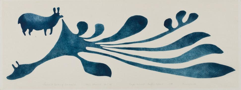 Kenojuak Ashevak CC RCA (1927-2013), Cape Dorset, Rabbit Eating Seaweed, 1959 #8 Stencil, 19/30, 9 x 24 in.  Ex Albrecht Collection.  Price realized: CAD$ 59,000.