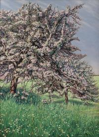 "Carlos Schwabe, ""Pommiers Fleuris""(Blooming Apple Trees), oil on canvas, 1912 39 ¼ by 28 ¾ inches (100 x 73 cm)"