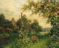 This beautiful river scene with flowers by the French-born American landscape artist Louis Aston Knight (1873-1948) will be sold at auction October 29th.